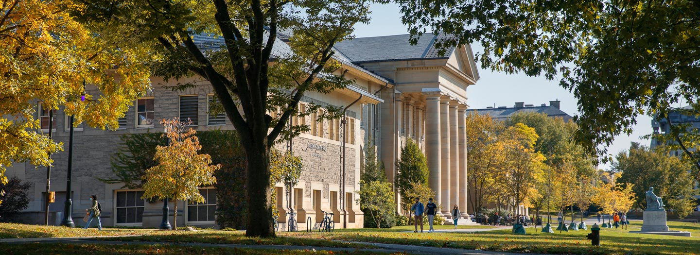 Goldwin Smith and the Arts Quad in the Fall